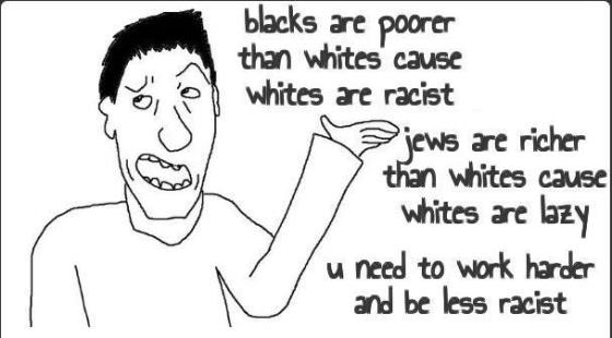 Whites are racists (vs Blacks) and lazy (vs Jews)